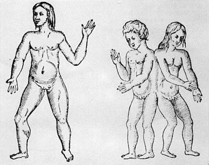 Hermaphrodites from Paré's 'On Monsters & Marvels' — the figure on the left corresponds closely to Eugenides' description of cal, down to the hairstyle & goatee